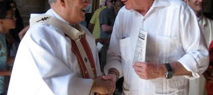 Cuban Cardinal Jaime Ortega greets author Michael Connors