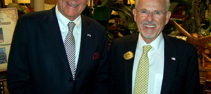 Michael Connors with Larry Norris, Founder and President of Norris Home Furnishings at the 'Writer's Domain' book event in Florida